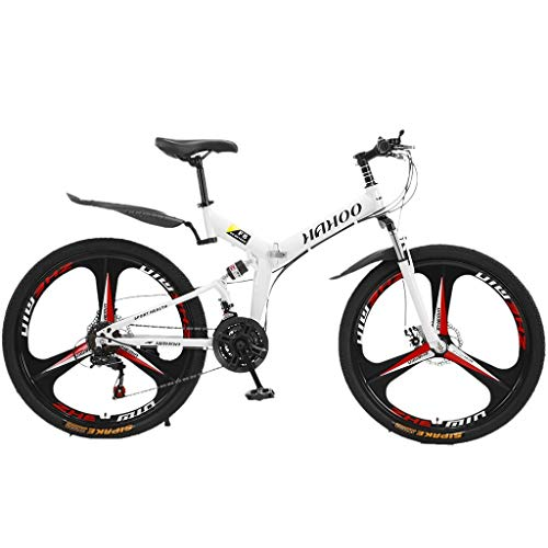 Feccile 【US Stock Adult Folding Mountain Bikes, 26 Inch Carbon Steel Mountain Bike Cruise Bike with 21 Speed Dual Disc Brakes Full Suspension MTB Bikes Anti-Slip Outdoor Racing Cycling