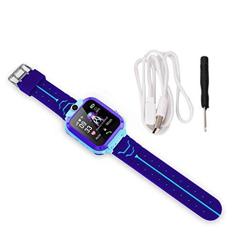 Teléfono con reloj inteligente para niños, Q12 Reloj de posicionamiento inteligente para niños Cámara impermeable Pantalla a color de 1.4 pulgadas Smartwatch(azul)