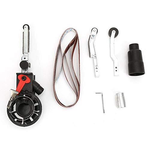 Smerigliatrice elettrica, adattatore per testina levigatrice per mini levigatrice a nastro per smerigliatrice angolare elettrica, kit di lucidatura per lama, forbici e metallo(M10)