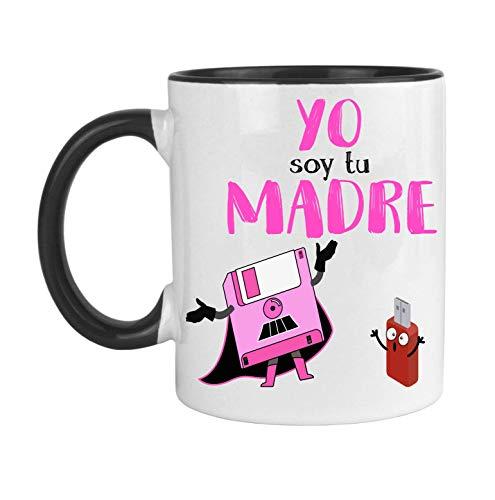FUNNY CUP Taza Dia de la Madre. Yo Soy tu Madre. Frikis Madres. Regalo Divertido Star Wars. (Negro)