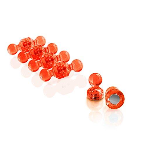 Push Pin Magnete   im praktischen Set (10, 30, 60 oder 120 Stück)   starke Neodym Magnete für Magnettafel, Whiteboard, Kühlschrank etc.   viele Farben wählbar (30 Stück Orange)