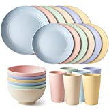 Teivio 24-Piece Kitchen Wheat Straw Dinnerware Set, Dinner Plates, Dessert Plate, Cereal Bowls, Cups, Unbreakable,Outdoor Camping Dishes (Service for 6 (24 piece), Multicolor)