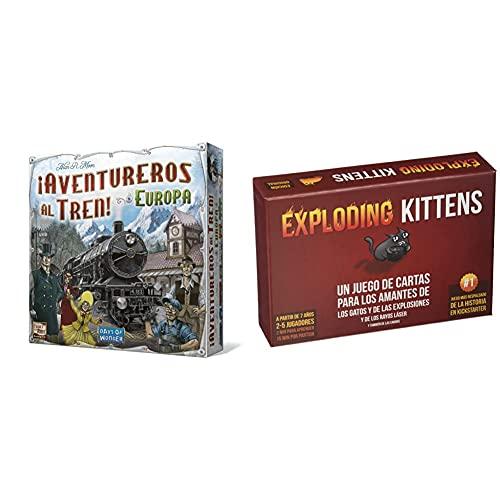 Days Of Wonder Aventureros Al Tren, Juego De Mesa (Lfcabi127) + Exploding Kittens Juego De Cartas (Ekek0001)