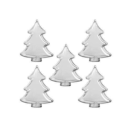 Amosfun 5 Piezas Adornos navideños Transparentes en Forma de árbol de Navidad Adornos de Bolas de plástico rellenables DIY Craft Ball para Vacaciones de Navidad decoración de Fiesta de Bodas