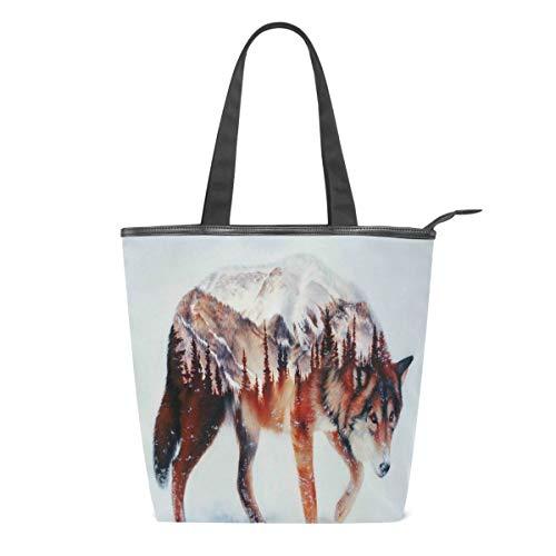 Wolf Forest Airbrush Malerei Frauen Canvas Tote Bag Baum Tier Schnee Mädchen Groß Schulbuch Schulter Griff Einkaufen Laptop Organizer Taschen Handtasche für Schulen Strand Reisen Arbeit Gym Alltag