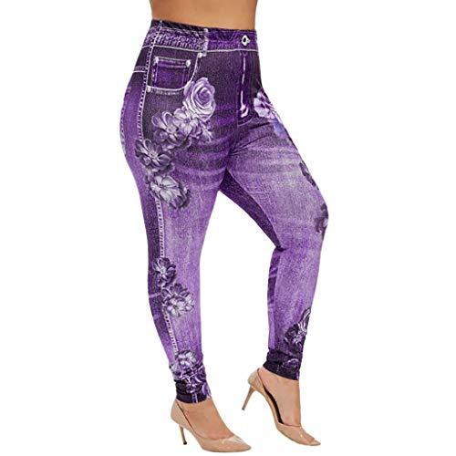 Panty's, joggingbroek, brede broeken, broeken vrouwen plus maten elastische taille drukvrije tijd hoge taille gamassen lange broek XXXXXL lila