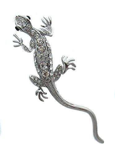 Broche Boutique Plata Rhinestone broche de lagarto grande/Salamander broche/regalo para el día de la Madre