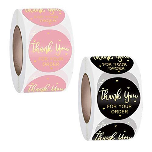 BoloShine 2 Rollos Gracias Pegatinas Redonda, 1 Pulgadas Thank You Stickers Kraft Autoadhesivas Gracias Papel Adhesivas...