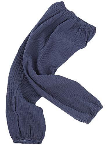 Fairyrain - Pantalón de verano para niños y niñas, de lino y algodón, suave, antimosquitos, informal, largo Pant#7 130 cm /5- 6 años