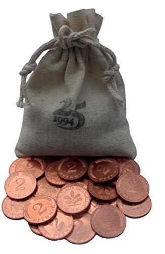 WallaBundu Geschenkidee zum 25. Hochzeitstag Silberhochzeit - symbolisch 25x 2 Pfennig Münzen von 1995 bankfrisch in Leinensack mit Jahr Stempel und Kalender von 1995