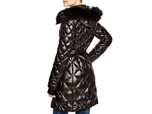 Diane von Furstenberg DVF Faye' Quilted Down Coat with Genuine Fox Fur, Black, XS