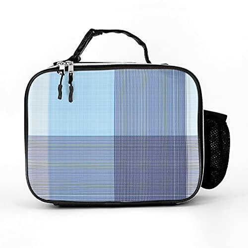 Bolsa isotérmica de tartán azul escocesa, bolsa de almuerzo, bolsa de pícnic, bolsa térmica a prueba de fugas, bolsa para el trabajo y la escuela, color blanco, talla única