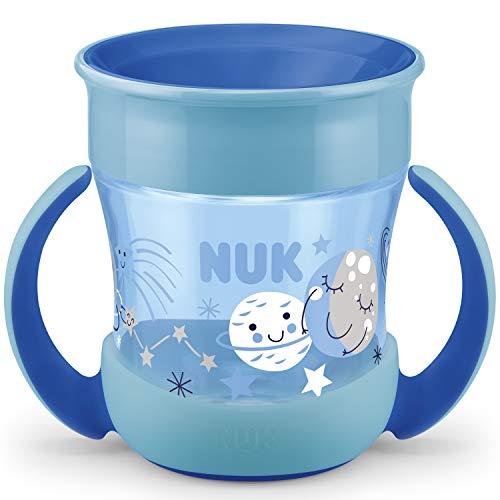 NUK Mini Magic Cup Night Trinklernbecher | auslaufsicherer 360°-Trinkrand | ab 6Monaten | mit Leuchteffekt | praktische Griffe | BPA-frei | 160ml | Blau
