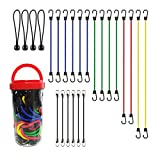 ZIOKOU 24 Piece Premium Bungee Cords with Metal Hooks, Tough and Durable Bungee Cords Assortment...