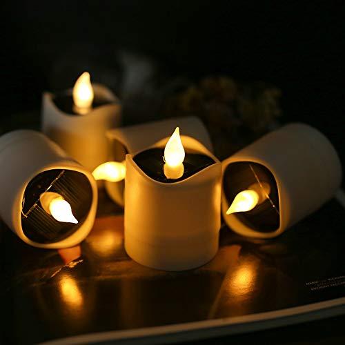 TINYOUTH 6 Stück Solar Kerzenlicht Aussen Warmweiß Licht, Flammenlose Solar Kerzenlichter Garten, Wasserdichte LED Kerzen Teelichter für Außen Garten Hof Weg Balkon Hochzeit Party Wohnkultur