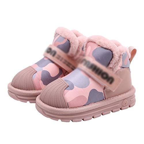 XZJJZ 2019 Princesa de Invierno Botas de Moda de Cuero Genuino bebé niñas Camou Botas de Nieve a Prueba de Agua Chicos Negro algodón Zapatos niño cálido (Size : Code 32)