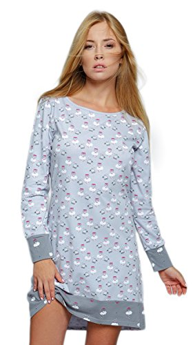 SENSIS edles und hochwertiges Baumwoll-Nachthemd Sleepshirt - Made in EU (S (36), hellgrau mit Eulen)