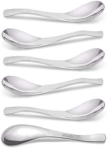 AOOSY - Juego de 6 cucharas de acero inoxidable, cucharas de sopa, cucharas de postre de mesa de 5.91 pulgadas, cubiertos, plata, cuchara de arroz, espejo, cuchara redonda para pulir