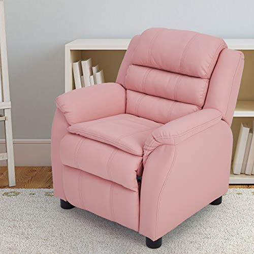 Esright Kids Recliner Chair, Children Recliner PU Leather Armchair for Toddler Boys Girls, Lightweight Sofa Chair, 4+ Age Group, Pink