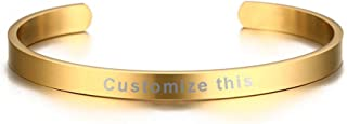 Mealguet Jewelry MG Personalized Stainless Steel Customs Engraving Quote Mantra Message Name Inspirational Cuff Bangle Bracelets Gift