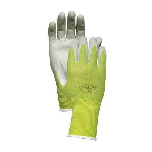 Showa Atlas NT370 Nitrile Garden and Work Gloves, Green Apple, Medium