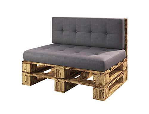 sunnypillow Palettenmöbel Gartenmöbel Set aus Holz Indoor/Outdoor Europaletten Möbel Sofa fürBalkon Terrasse Garten geflammt Bank 120 x 80 cm Höhe : 30 cm