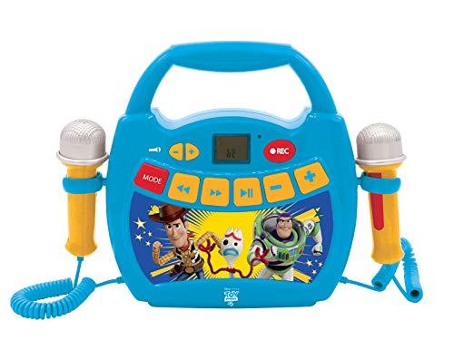 Lexibook MP300TSZ Disney Toy Story 4, Woody, Buzz & Forky-Mein erster Karaoke Musikplayer mit 2 Spielzeugmikrofonen, kabellos, Aufnahmefunktion, Stimmeneffekt, Blau/Gelb, einzeln