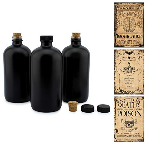 Cornucopia Brands Black 16-Ounce Glass Apothecary Bottles (3-Pack); Boston Round Bottles with...
