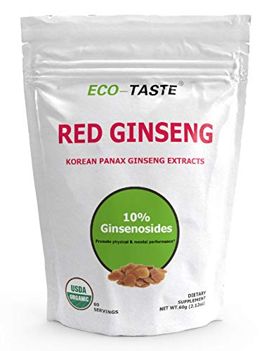Organic Red Ginseng Root Extract Powder-Korean Panax, 10% Ginsenosides, Support Mental Health, Energy and Immune System, 60g