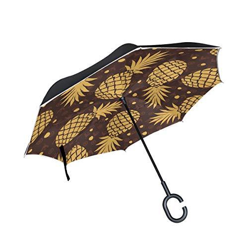 Sirena a Prueba de Viento Gold Pineapple Dot Pattern Reverse Umbrella con Mango en Forma de C para el Coche Paraguas al Aire Libre Patio Paraguas