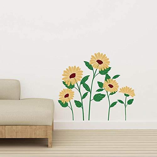 Pegatina De Pared De Girasol Amarillo Dormitorio Flor Decoración Del Hogar Habitación De Niña Calcomanía De Casa Mural Extraíble Decoración De Escritorio 68X56Cm