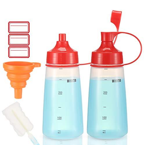 Ondiomn 調味料用スクイーズボトル 広口 2パック クリアスクイーズボトル 調味料/ペイント/ケチャップ/マスタード/オイル/ソース/ペイント/樹脂/ベーキング/ケーキのデコレーション/クリーニング用 BPAフリー 食品グレード