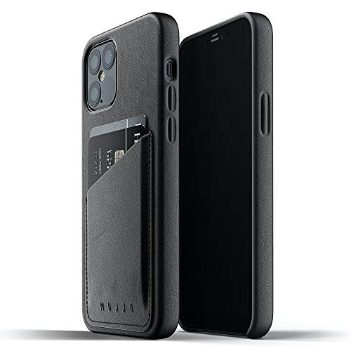 Mujjo iPhone 12 Leather Case Black - Premium Wallet Case - Compatible with iPhone 12 and 12 Pro - Compartments for 2-3 Cards - Extra Thin - Shockproof Protective Case - Wireless Charging - 6.1 Inches