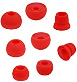 ALXCD Ear Tips for Powerbeats 2 Wireless Headphone, SML 3 Sizes 3 Pair Silicone Replacement Earbud Tips & 1 Pair Double Flange Ear Tip Cushion, Fit for Beats Powerbeats2 Wireless Pb2[4 Pair](Red)
