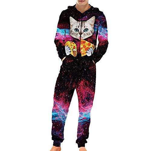 Chickwin Herren Cat Jumpsuit Overall Jogger, Unisex Mädchen Kapuzenpullover Strampelanzug 3D Printed Onepiece Sweatshirt Männer Strampler Nachtwäsche Fitness Bekleidung (XL,Katzen Pizza)