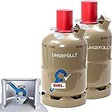 CAGO 2 x 5 kg Gasflasche Propangas-Flasche Neu Grillgas Gas Flasche Flüssiggas Campinggas INKL Gasregler-Schlüssel