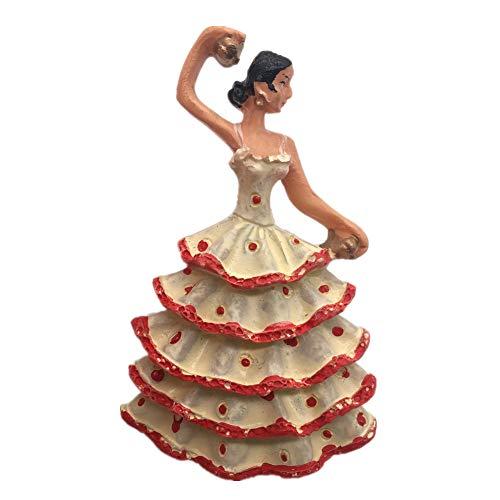Gitanos bailarines de flamenco en Andalucía España Resina 3D fuerte imán de nevera recuerdo turístico regalo chino imán hecho a mano artesanía creativa decoración del hogar y la cocina etiqueta magnética (negro)