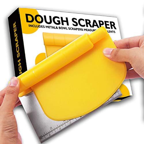 Pro Dough Scraper/Food Safety Chopper/Flexible Plastic Bowl Scraper Set, Multi-Purpose Food Scraper Baking Tool With Measuring Function, Bread Scraper or Pastry Scraper Yellow