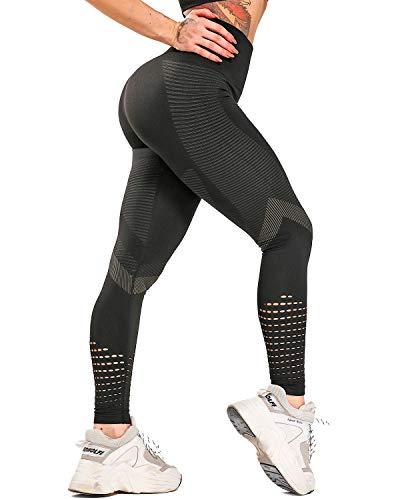 CFR Women's High Waisted Workout Leggings Seamless Gym Leggings Butt Lift Yoga Pants Push Up #7 Black L