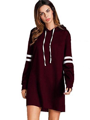 SweatyRocks Women's Striped Long Sleeve Casual Pullover Hoodie Sweatshirt Dress Burgundy XL