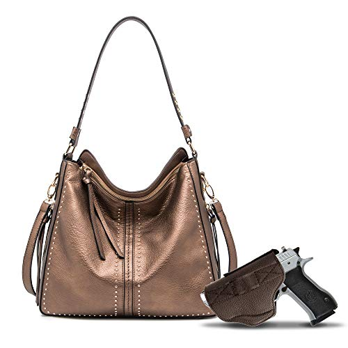 Bronze Large Concealed Carry Hobo Purse for Women Studded Leather Crossbody Shoulder Bag With Gun Holster - Conceal Weapon CCW MWC-G1001BZ