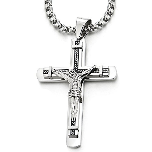 COOLSTEELANDBEYOND Crucifijo Cruz, Collar con Colgante de Hombre, Cruce, Acero Inoxidable, 75cm Cadena de Trigo