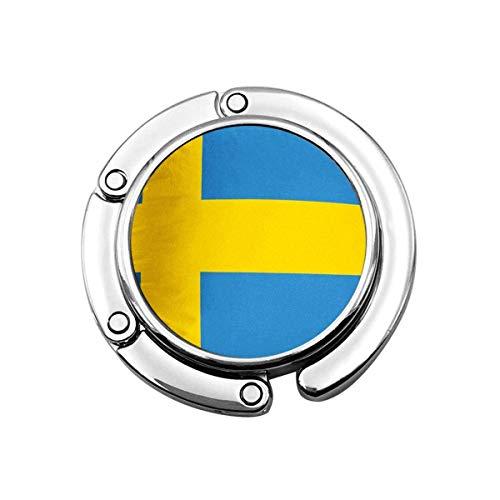 Niedlicher Faltbarer Geldbeutel-Aufhänger für Tisch, Geldbeutel-Haken gelbe schwedische Schweden-Blaue Flaggen