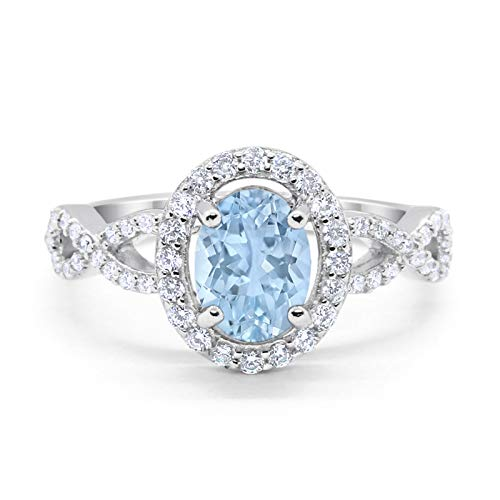 Blue Apple Co. Infinity Art Deco Halo Wedding Engagement Bridal Ring Oval Simulated Aquamarine Round Cubic Zirconia Solid 925 Sterling Silver, Size-6