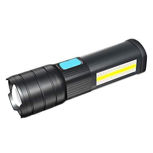 Lsmaa Led-zaklamp, oplaadbaar, voor noodgevallen, werk, camping, COB-licht, USB-uitgang, 2400 mAh, powerbank, blauw/rood/wit, LED, verstelbare focus, waterdicht, met onderaan 2400mAh blue