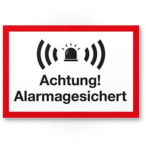 Achtung Alarmgesichert Kunststoff Schild (weiß-rot 30 x 20 cm) - Achtung/Vorsicht Alarmgesichert - Hinweis/Hinweisschild Alarm - Haus/Gebäude/Objekt