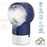 EEIEER Portable Air Conditioner Cool Mist Humidifier Fan, 4 in 1 Timing Night Light Quiet Circulation Small Table Fans Personal Adjustable Misting Evaporative Air Cooler for Home Bedroom Office (Blue)