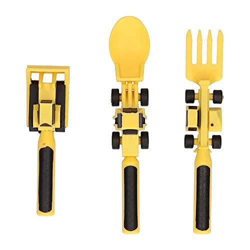ONEVER Juego de utensilios para niños, juego de vajilla de 3 piezas Bulldozer Spoon Creative Utensilios Set - Amarillo