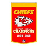 Thinkfly Kansas City Chiefs 2-Time Super Bowl Champions Banner Flag 30x50Inch Man Cave (30X50Inch Red)