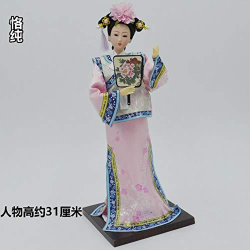 SHUANGBING Skulptur Dekoration Statue Neue Traditionelle Chinesische Puppen-Mädchen-Spielzeug-Altes Sammelbares Schönes Weinlese-Art-Prinzessin Ethnic Doll Mit Kleid, Color9